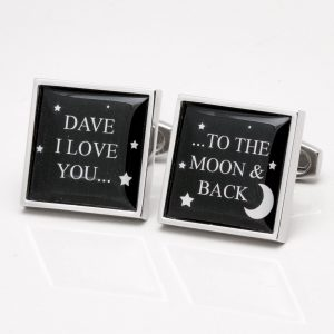 PERSONALISED LOVE YOU TO THE MOON & BACK CUFFLINKS