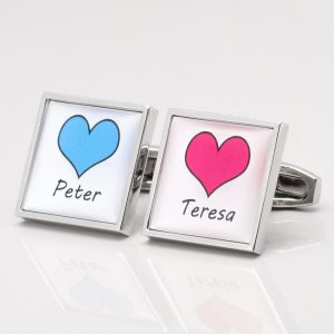 Personalised Hearts & Names Cufflinks