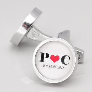 Personalised Initial Heart Cufflinks