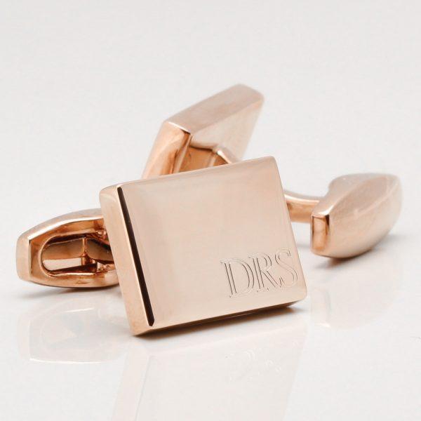 Rose Gold Subtle Engraved Initial Cufflinks