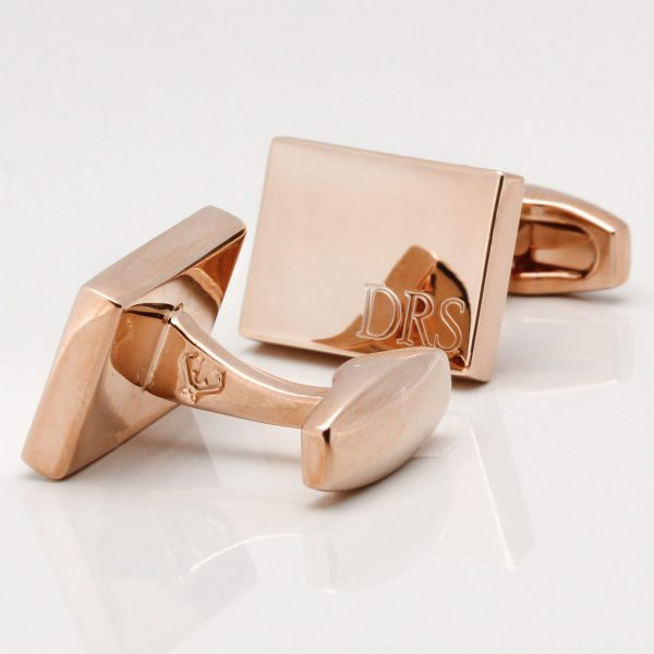 Rose Gold Subtle Engraved Initial Cufflinks Gallery