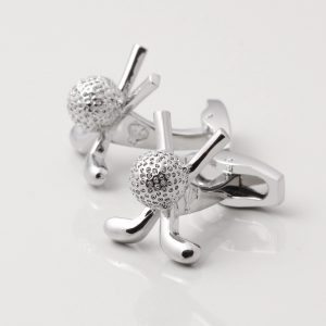 SILVER PLATED CROSSED GOLF CLUBS & BALL CUFFLINKS