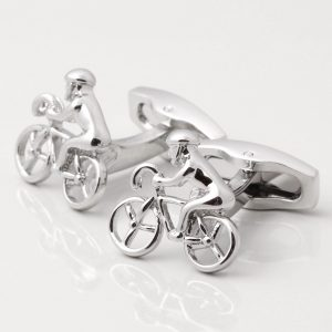 SILVER PLATED CYCLIST CUFFLINKS