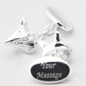 SILVER PLATED ENGRAVED FOX CUFFLINKS