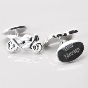 SILVER PLATED ENGRAVED MOTORBIKE CUFFLINKS