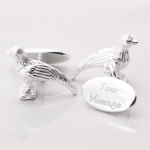 SILVER PLATED ENGRAVED PHEASANT CUFFLINKS