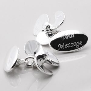 SILVER PLATED ENGRAVED PROPELLER CUFFLINKS