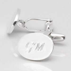 STERLING SILVER OVAL ENGRAVED CUFFLINKS