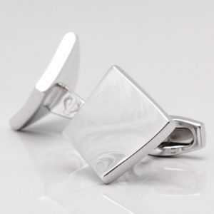 Sculptured Silver Square Cufflinks