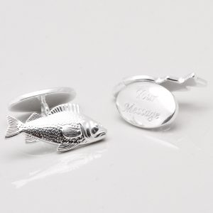Silver Plated Engraved Carp Cufflinks