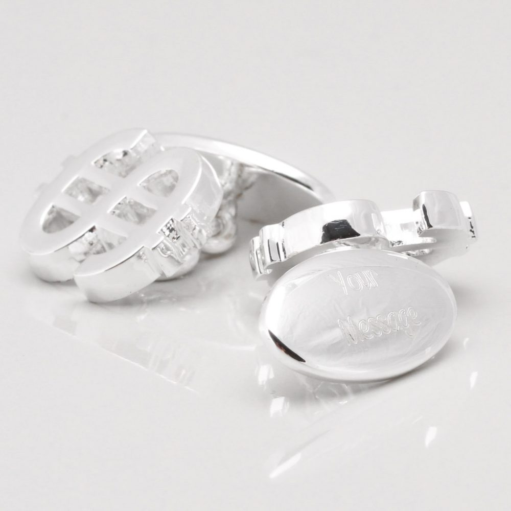 Silver Plated Engraved Dollar Cufflinks