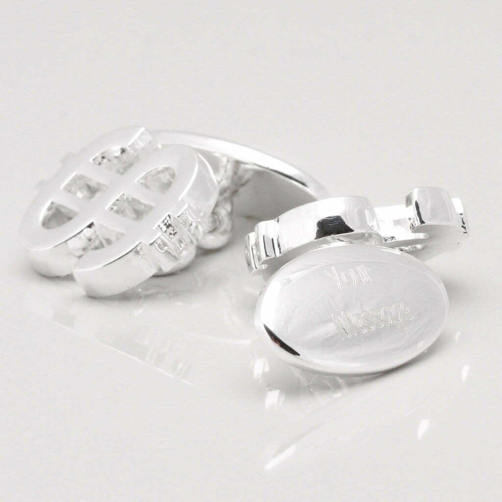 Silver Plated Engraved Dollar Cufflinks