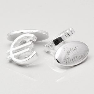 Silver Plated Engraved Euro Cufflinks