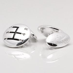 Silver Plated Engraved Gear Stick Cufflinks