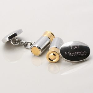 Silver Plated Engraved Gun Cartridge Cufflinks