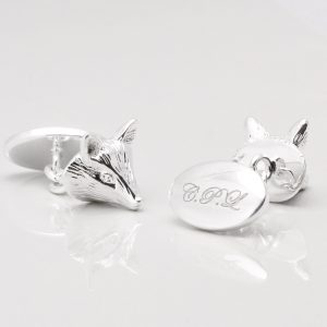 Silver Plated Engraved Stag Cufflinks