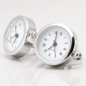 Silver Real Working Clock Cufflinks