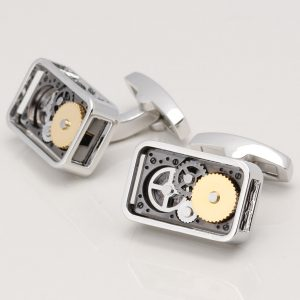 RECTANGULAR GEAR MOVEMENT CUFFLINKS