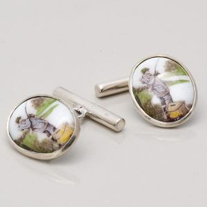 STERLING SILVER ENAMELLED FISHING CUFFLINKS