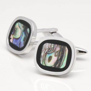 Abalone Stone Cufflinks with Onyx Rim
