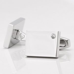 Birthstone Clear Crystal Cufflinks