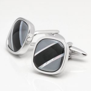 Curved Square Cufflinks with Hematite, MOP & Onyx Stripes