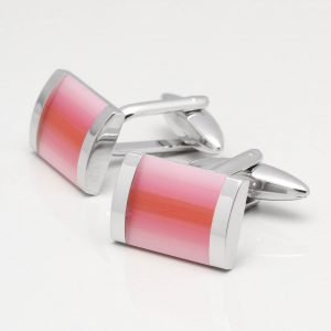 Light Pink & Red Cats Eye Cufflinks