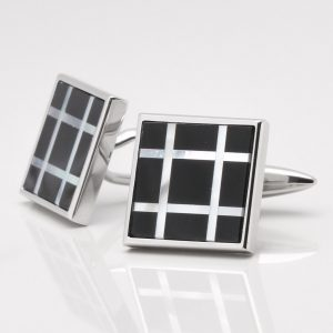 Onyx & Mother of Pearl Check Design Cufflinks