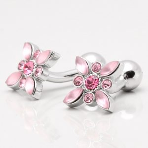 Rose Crystal & Pink Acrylic Floral Cufflinks