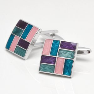 Square Cufflinks with Multi Coloured Epoxy Rectangles