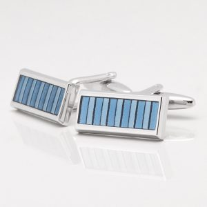 Two Toned Blue Epoxy Bar Cufflinks