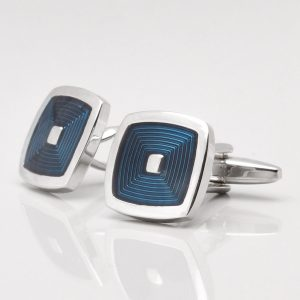 BLUE ENAMEL SQUARE CUFFLINKS