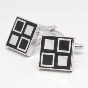 Black Epoxy Four Squared Design Cufflinks