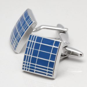 Blue Epoxy Stripe Design Cufflinks