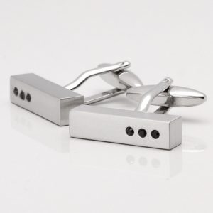 Brushed Rhodium Bar Cufflinks with Jet Black Crystals