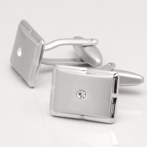 Brushed Rhodium Cufflinks with Clear Crystal