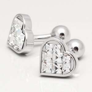 Clear Crystal Heart Cufflinks