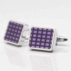 Enamel Purple Lattice Cufflinks