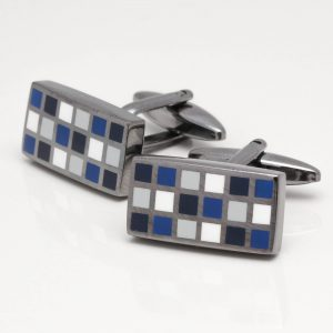 Gunmetal Cufflinks with White, Black, Navy & Grey Squares