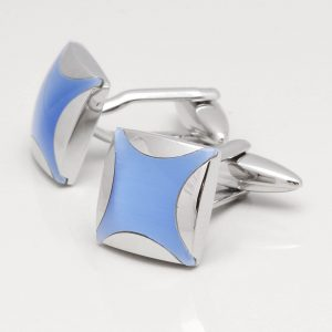 Light Blue Cats Eye Stone Cufflinks