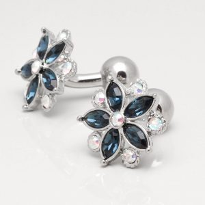Montana & Clear Crystal Floral Cufflinks