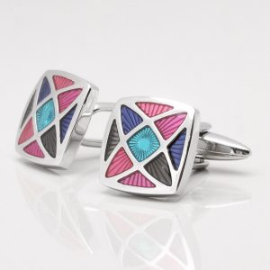 Multi Colour Geometric Design Cufflinks