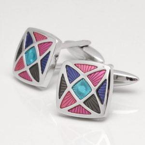 Multi Colour Geometric Design Cufflinks