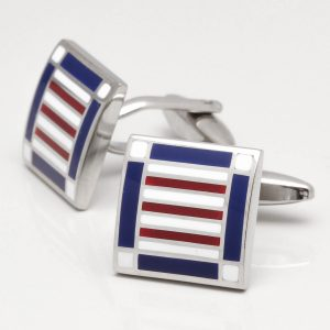 Navy, Red & White Patterned Square Cufflinks
