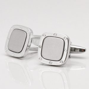Polished & Brushed Rhodium Screw Design Cufflinks