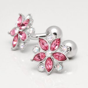 Rose & Clear Crystal Floral Cufflinks