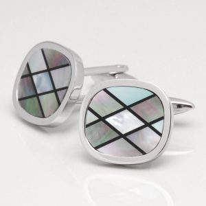 Smoked Mother of Pearl Cufflinks with Onyx Lines