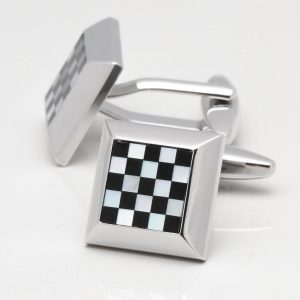 Square Mother of Pearl & Onyx Chequered Cufflinks