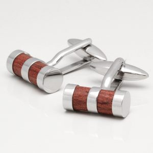 Stainless Steel Wooden Cylinder Cufflinks