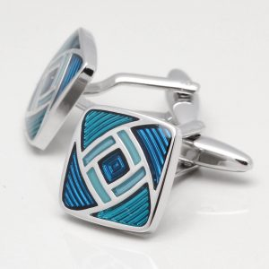 Two Tone Blue Geometric Cufflinks